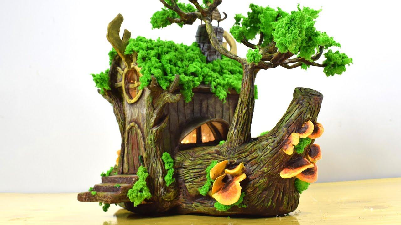 DIY Log Fairy House Using Cardboard Box | Paper Clay Tutorial