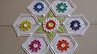 Easy and small 7 by 4 dots rangoli | Creative rangoli designs by Poonam Borkar