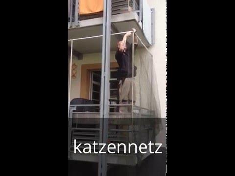 Montage von Katzennetze - Katzenschutznetz - Katzennetz an Balkon ...
