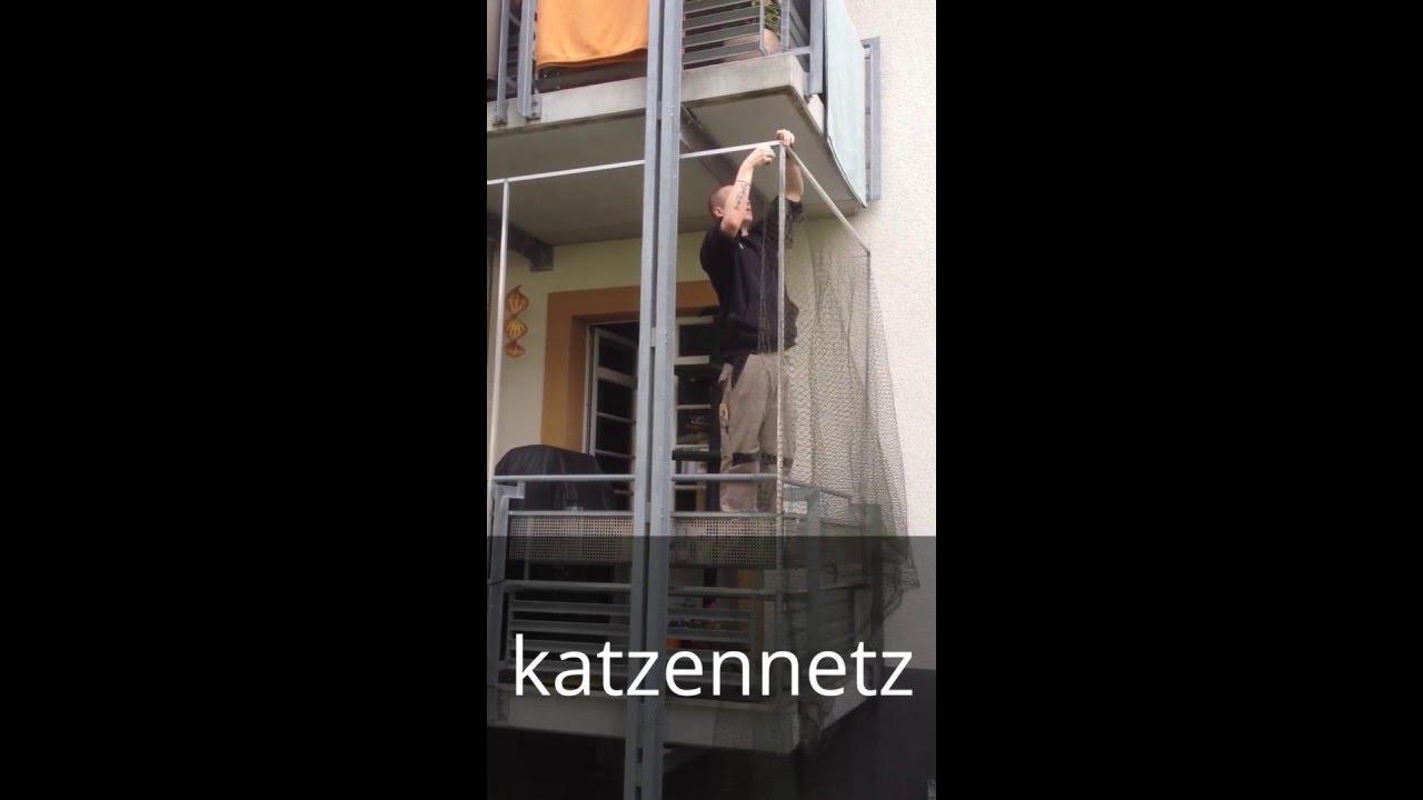 montage von katzennetze katzenschutznetz katzennetz an balkon youtube. Black Bedroom Furniture Sets. Home Design Ideas