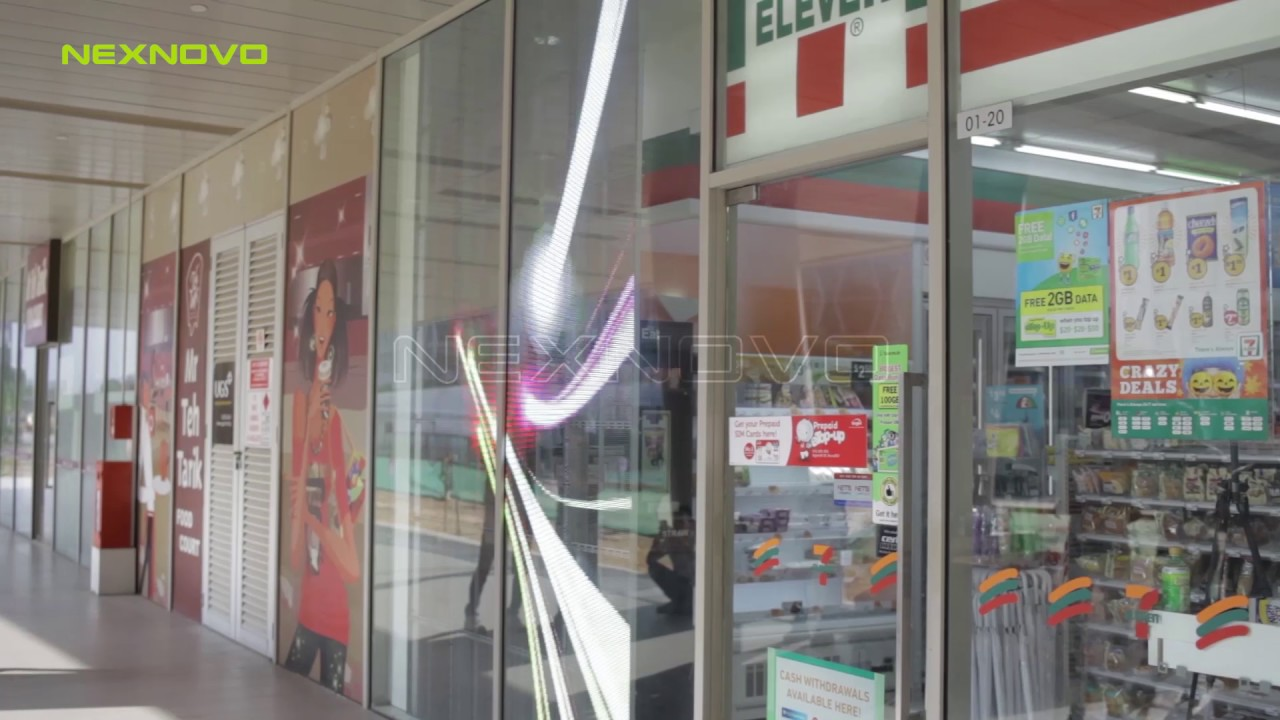 7/11 Deals 7 11 Store Window Advertising With Nexnovo Transparent Led Display