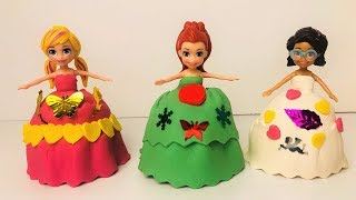 Polly Pocket friends play doh dresses dress up game funny kids videos