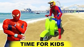 SPIDERMAN with BIKES and CARS Cartoon For Kids Children's Nursery Rhymes Songs