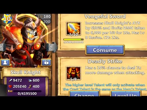 Castle Clash - Double Evolve Skull Knight & 10 Star (Crazy HP & Attack)