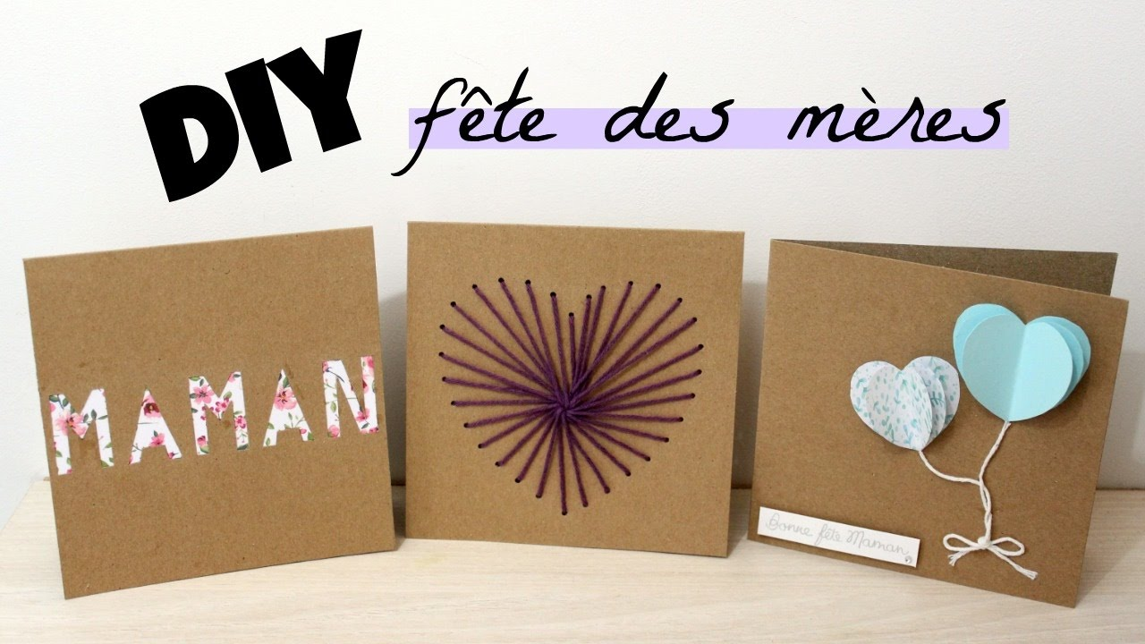 diy 3 cartes pour la f te des m res youtube. Black Bedroom Furniture Sets. Home Design Ideas