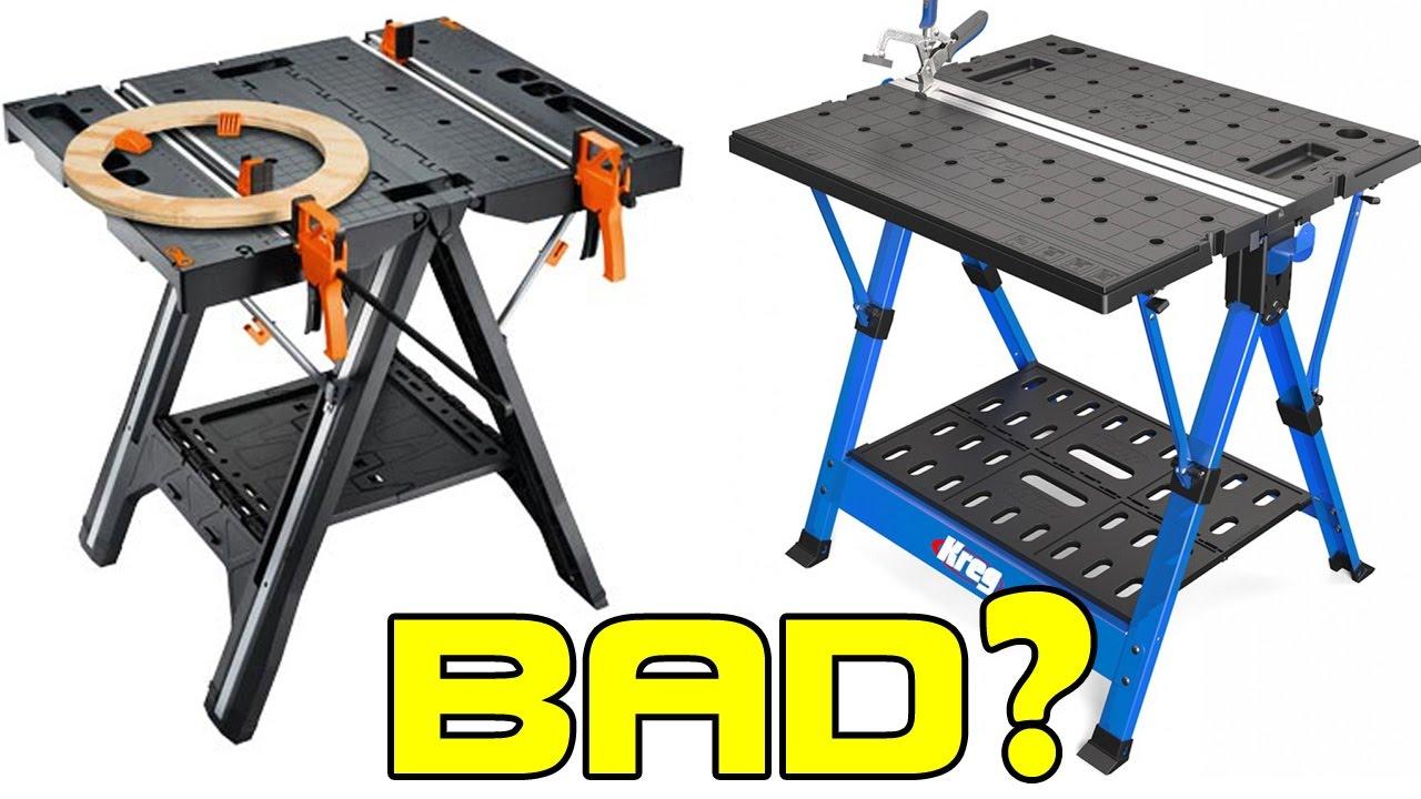 Worx Vs Kreg Folding Work Table Review  One Winner, One