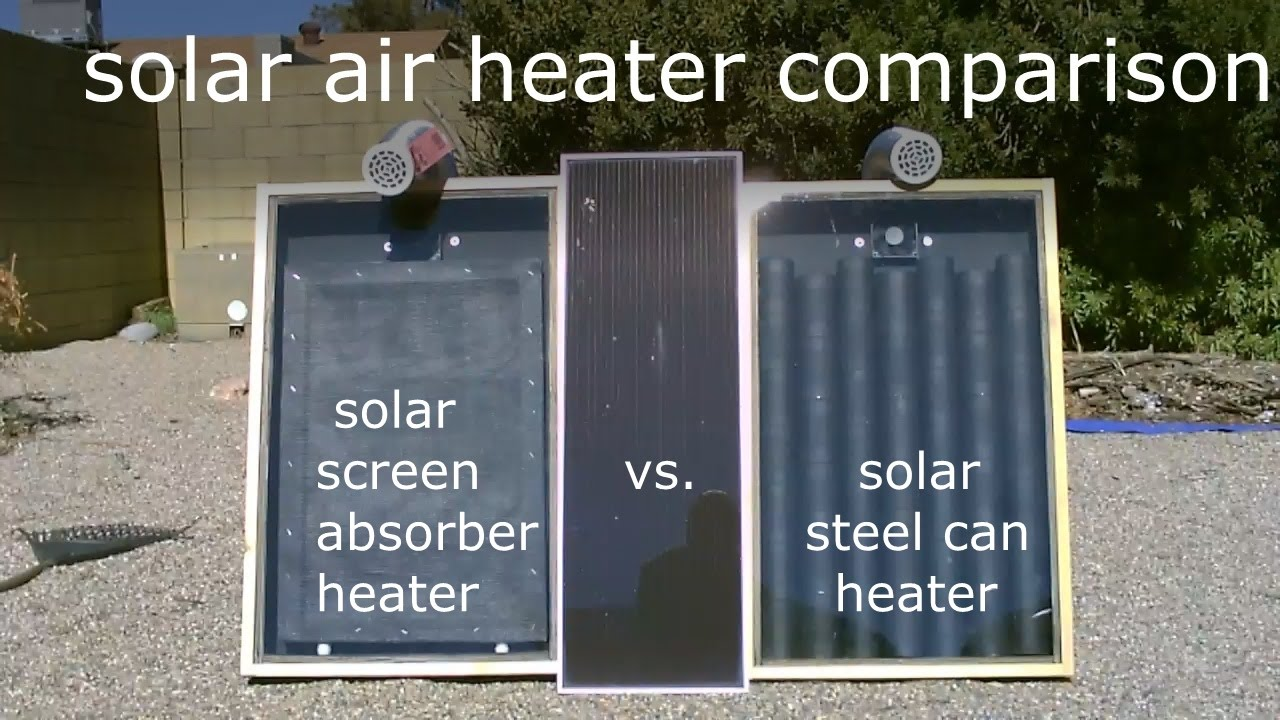 Solar air heater comparison steel can heater vs screen for Coke can heater
