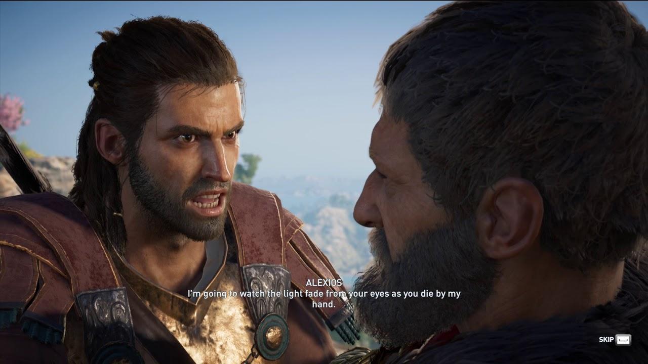 Assassins Creed Odyssey Alexios Kills Nikolaos Cutscene