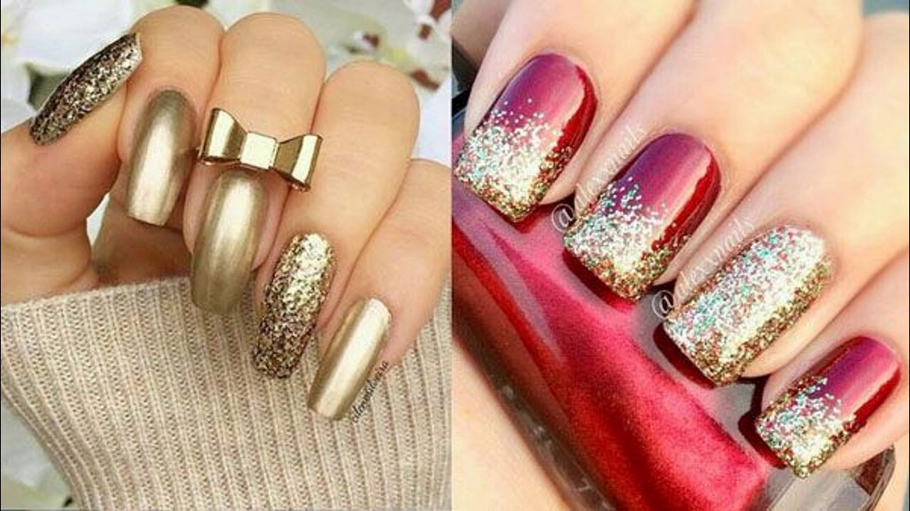Uñas decoradas con brillos - YouTube