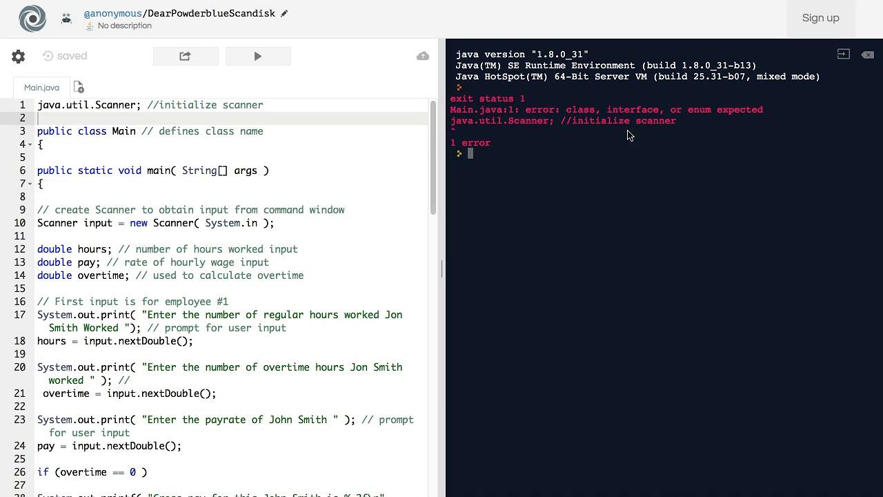 error: class, interface, or enum expected java util Scanner