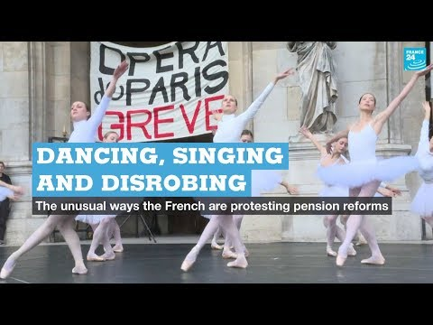 Dancing, singing and disrobing: France's unusual pension reform protests