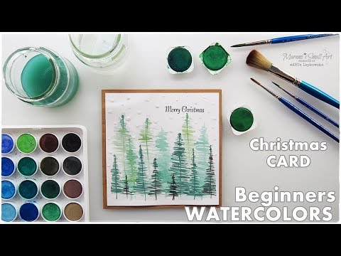 Watercolor Christmas Card Scenery Trees for Beginners ♡ Maremi's Small Art ♡