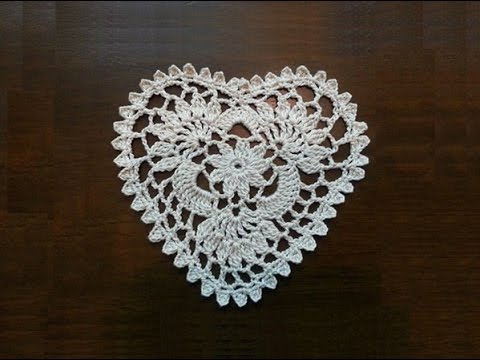 Free Crochet Pattern For Heart Doily : Crochet Heart Mini Doily Part 1 - YouTube
