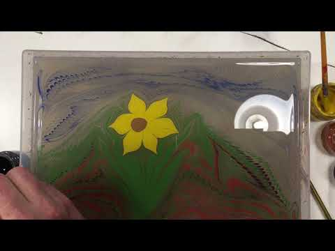 How to make a Daffodil using Paper Marbling and Turkish Ebru techniques with James Mouland