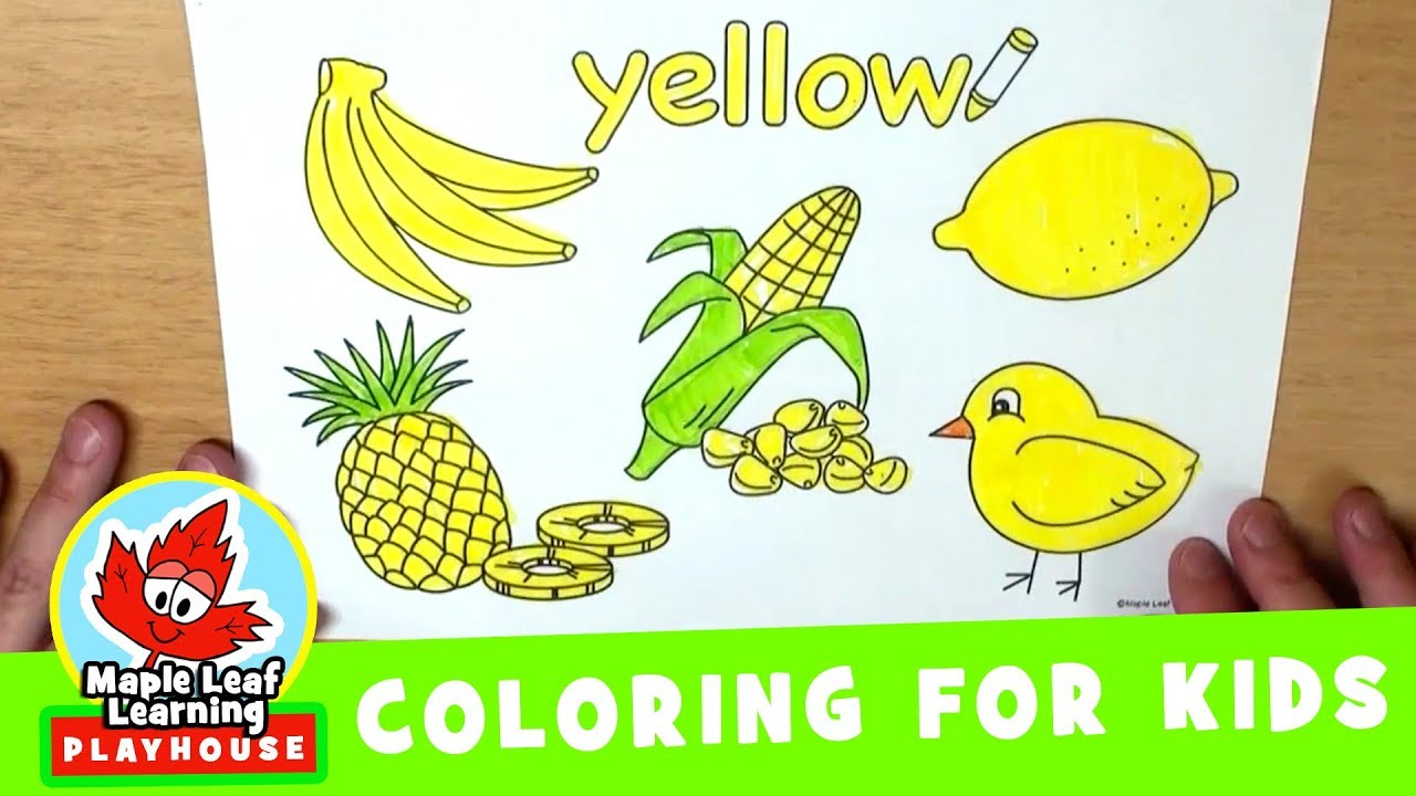 yellow coloring page for kids maple leaf learning playhouse