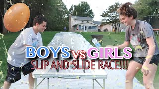 EXTREME SLIP AND SLIDE RACE! (BOYS VS GIRLS)