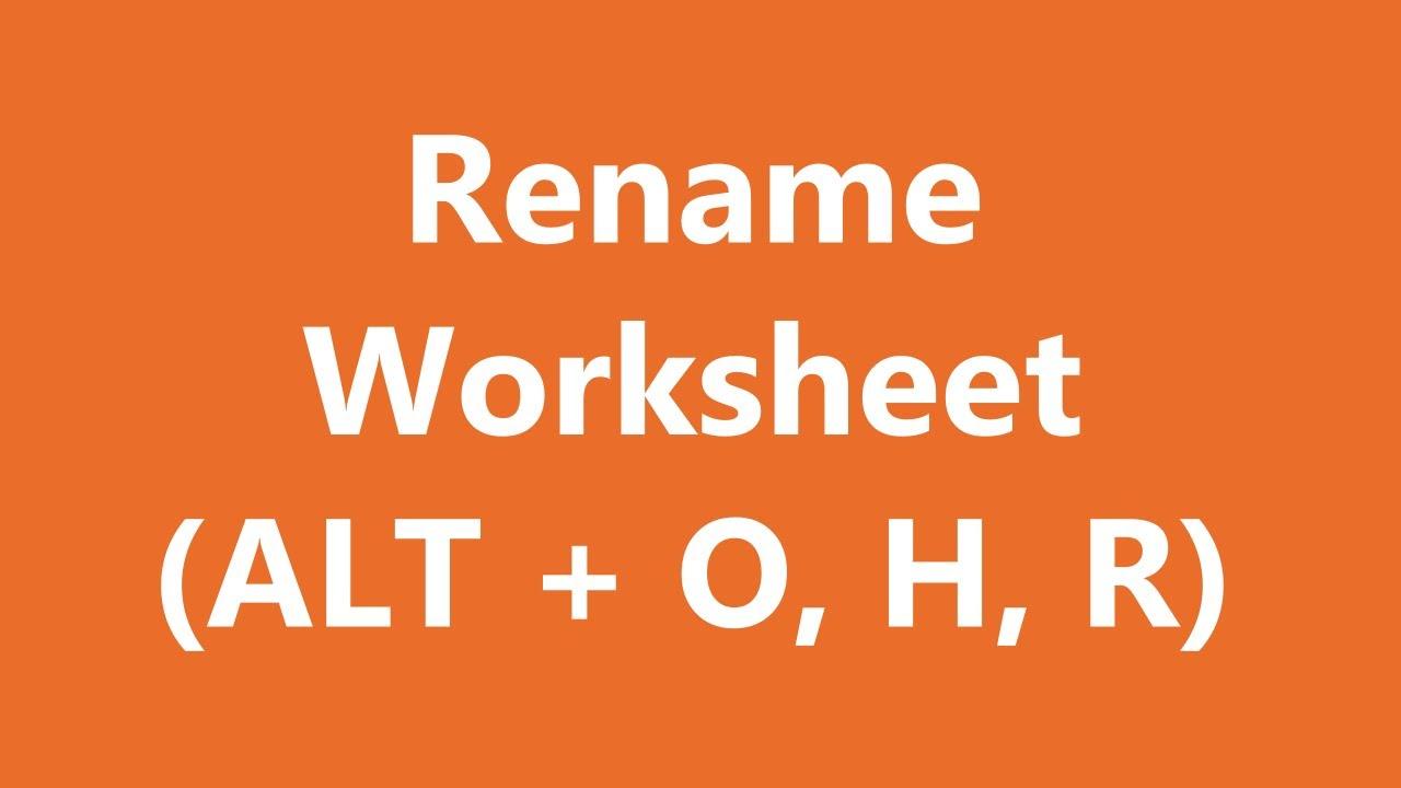 Excel Shortcuts Rename Worksheet Youtube