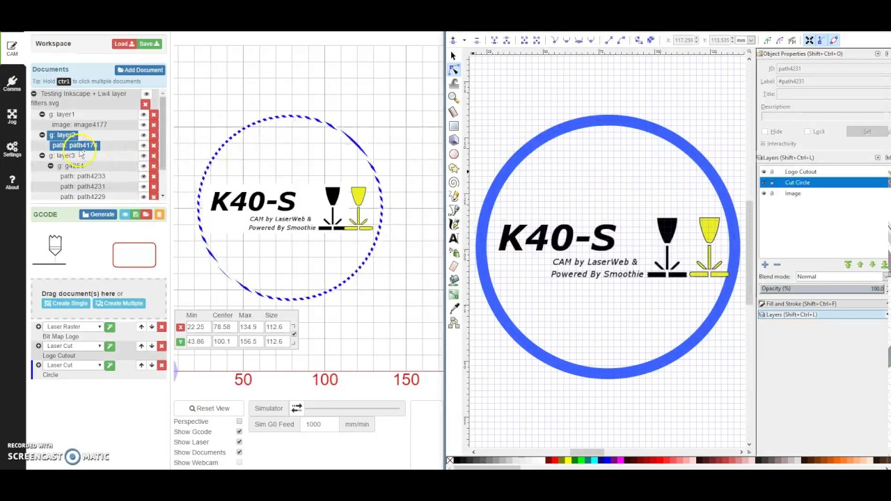 Inkscape design for CAM operations in LaserWeb4 by Don Kleinschnitz Jr