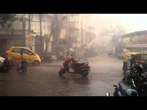 Hailstorm in Hubli India , Winds, Hail storm, Thunder & Lightning