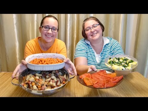 Potato Hush, Spiced Carrots, Roasted Peppers And Spinach Eggs Mukbang (먹방) - Eating Show