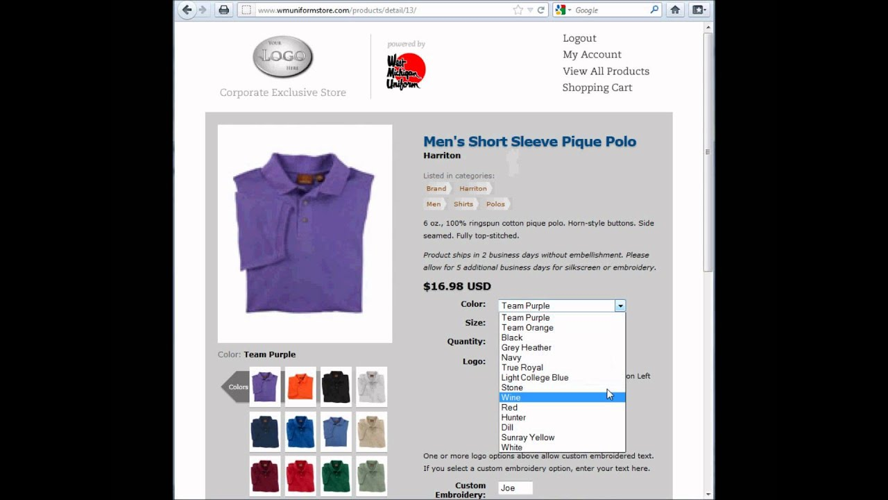 West Michigan Uniform Corporate Exlusive Online Store Demo Youtube
