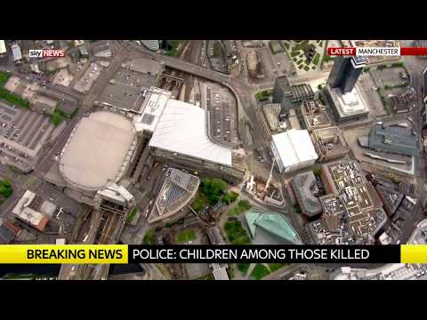 Manchester Arena seen from the air after Manchester Attack
