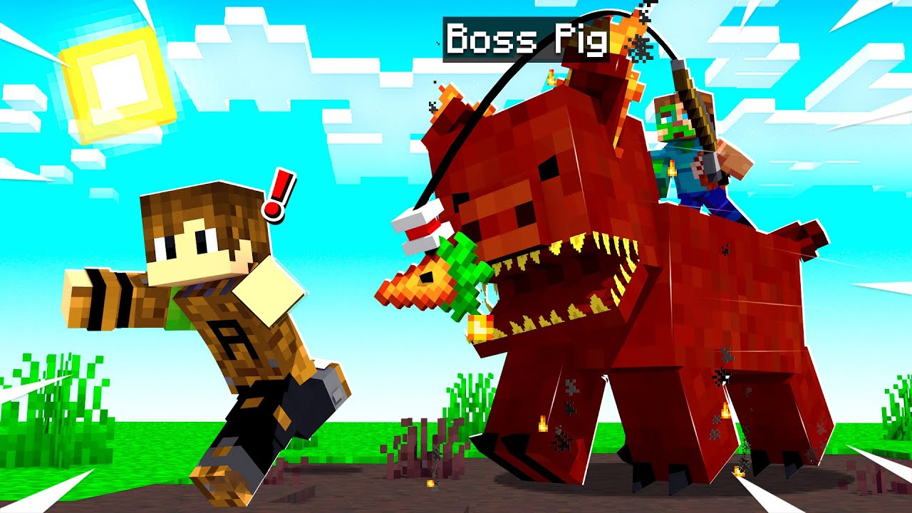 RESCUING my BROTHER from a KILLER PIG in Minecraft!