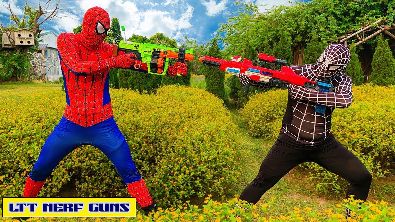 LTT Nerf Guns: Spider Man X Warriors Nerf Gun Fight Criminal Group Masked Good and Evil Confronted