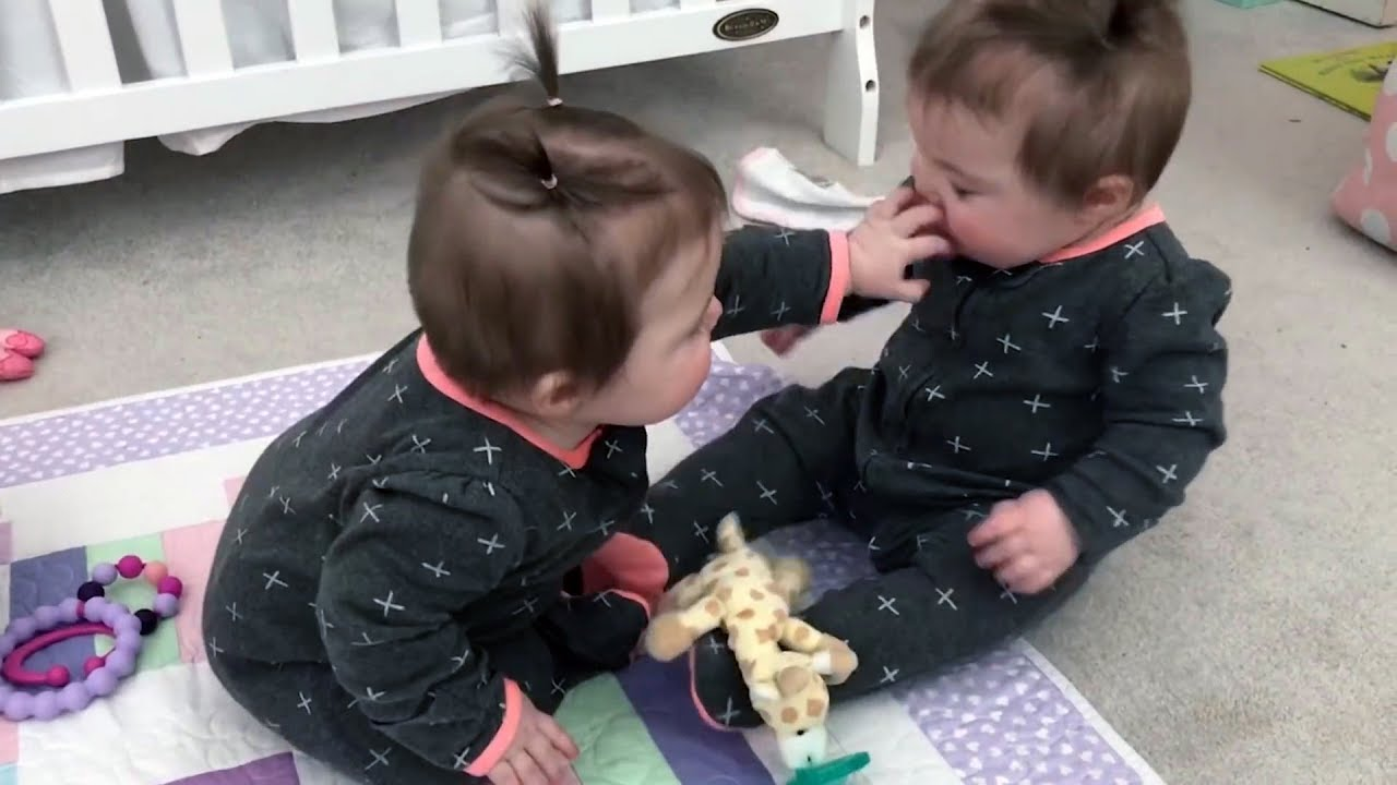 ADORABLE TWIN BABIES Share Pacifier and Fighting!