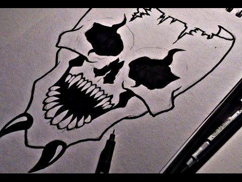 How To Draw A Scary Skull Mask - YouTube