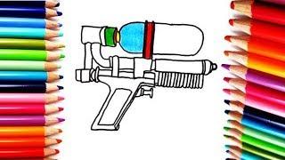Como Dibujar y Colorear una Pistola - How to Draw and Color a Gun