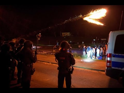 Riots in Dresden. Locals against migrants and Police. 23.08.2015