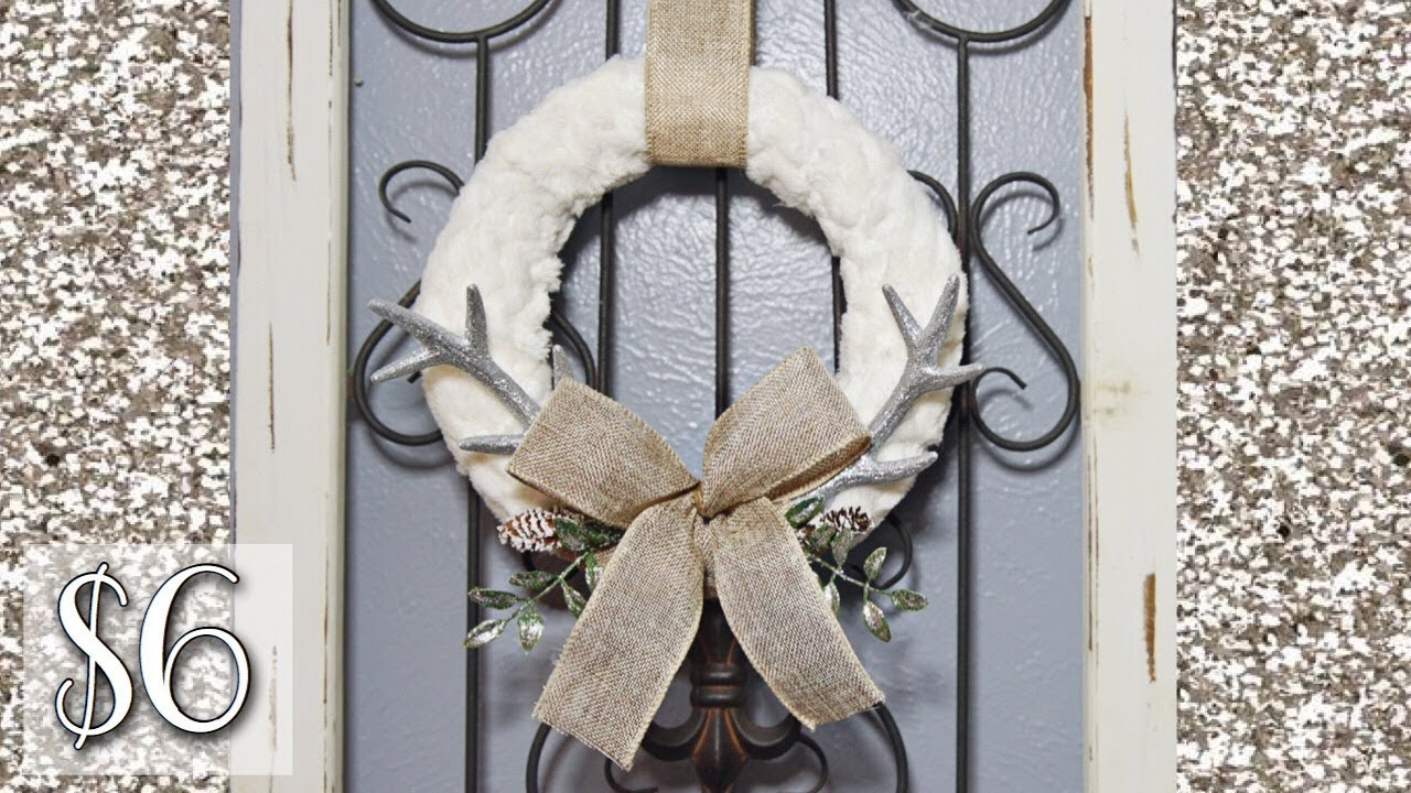 Rustic Christmas Wreath Diy.Dollar Tree Faux Fur Wreath Diy 6 Rustic Glam Christmas 2017