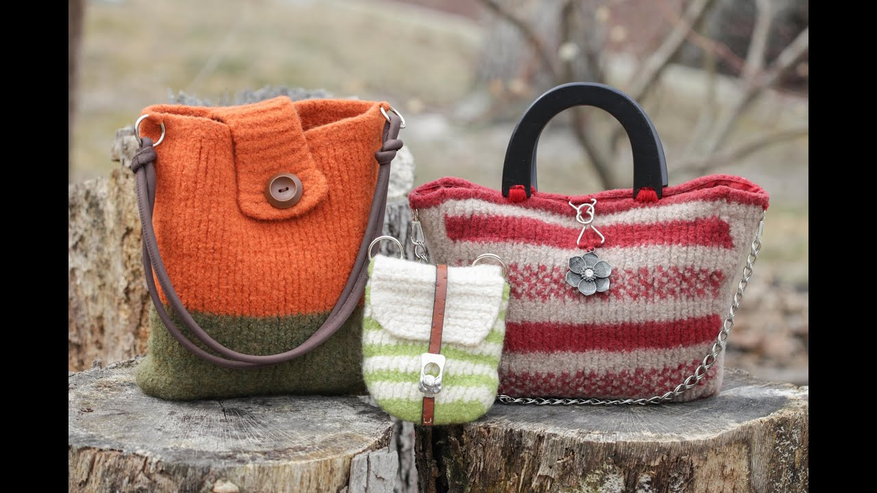 Knitting Pattern Felted Bag : Sewing Handles onto a Felted and Knitted bag - YouTube