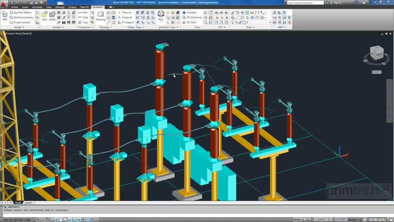 Substation design: connections  wires, tubes and clamps