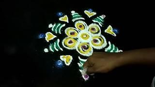 Easy Flower Rangoli Designs with Dots | Flower Rangoli Kolam | Udhays Rangoli Corner
