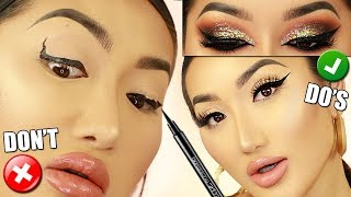 EYELINER TUTORIAL FOR BEGINNERS || EYELINER DO'S AND DONTS, MAKEUP MISTAKES TO AVOID!