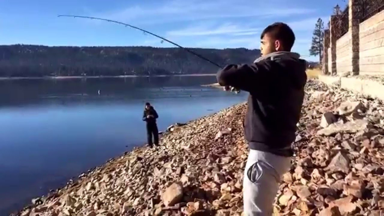 Big bear lake winter trout fishing 2015 youtube for Fishing in big bear