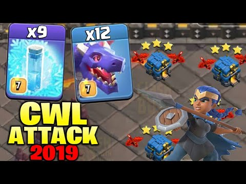 12 Dragon + 9 Freeze Spell + Stone Slammer :: AIR CWL TH12 WAR 3 STAR ATTACK STRATEGY 2019 | COC
