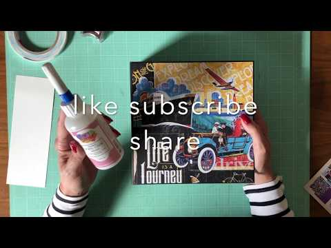 Mini Album Tutorial Graphic 45 Life is a Journey Cover & Liner thumbnail