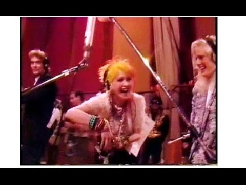 "Funny 80's Cyndi Lauper moment, rehearsing ""We are the World""  (rare)"