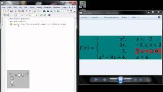 gráfico de una función definida por tramos en  MATLAB
