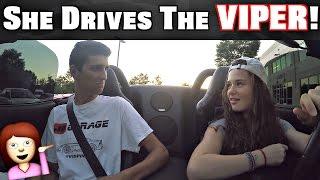 Girl Driving Manual Stick Shift Dodge Viper!