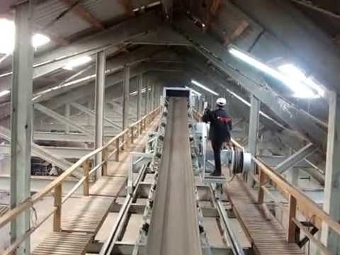 Rubber belt conveyor with triple car MOV01585  YouTube