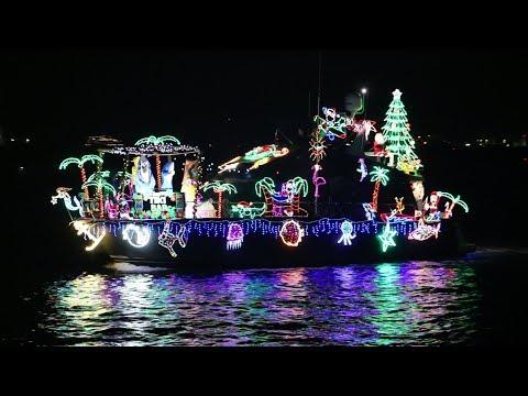 2018 Parade Of Lights Boat Parade In San Diego Bay (12/16/18) (4K)