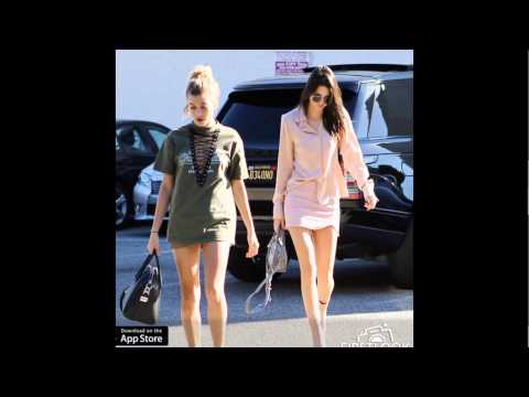 Kendall Jenner out in Beverly Hills today with Hailey Baldwin