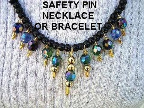 SAFETY PIN BRACELET OR NECKLACE Diy Jewelry Making Easy Quick Costume Jewelry  How To Make