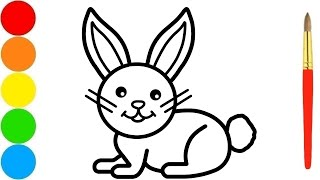 How to Draw Bunny Easy and Coloring for Kids with Paint