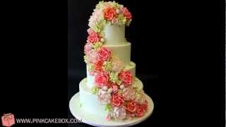 Cascading Garden Rose & Hydrangea Wedding Cake