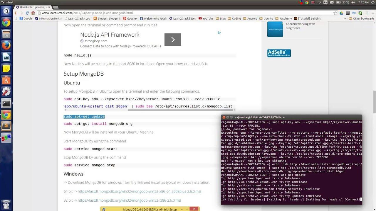 How to Setup Node js and MongoDB in Ubuntu and Windows